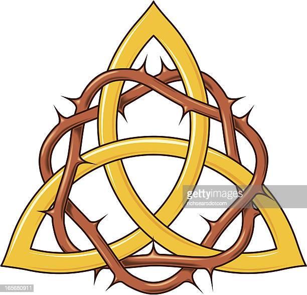 ilustraciones, imágenes clip art, dibujos animados e iconos de stock de corona de thorns en trinity nudo - corona de espinas