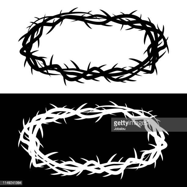 crown of thorns - good friday stock illustrations