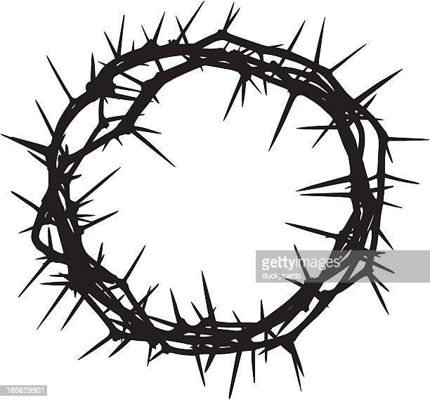 crown of thorns - christianity stock illustrations