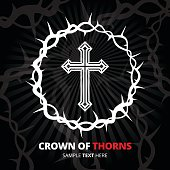 Crown of thorns with cross on black background. Vector illustration.
