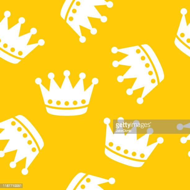 crown pattern silhouette - medieval queen crown stock illustrations