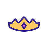 Crown princess icon vector. Isolated contour symbol illustration