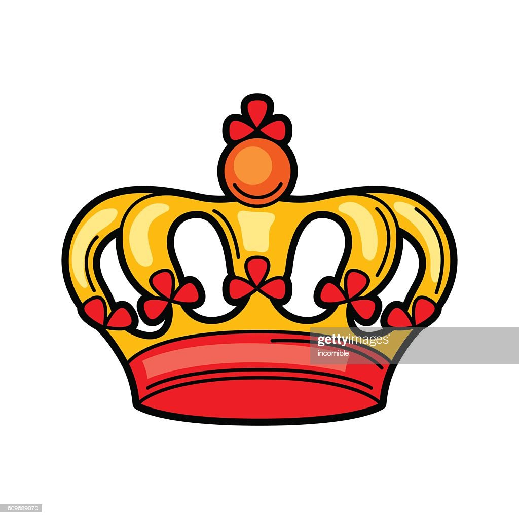 Crown retro tattoo symbol. Cartoon old school illustration