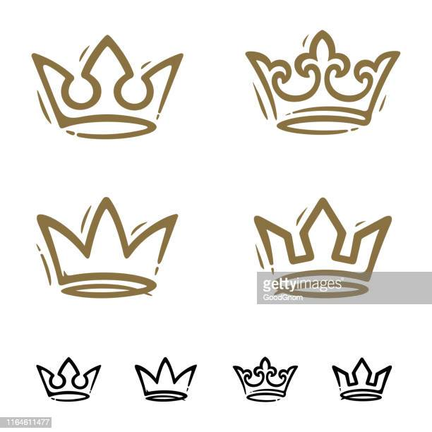 illustrazioni stock, clip art, cartoni animati e icone di tendenza di crown set - corona reale