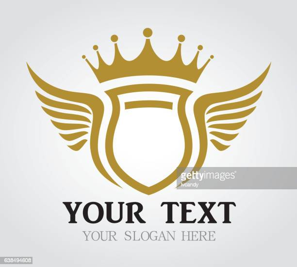 illustrazioni stock, clip art, cartoni animati e icone di tendenza di crown shield with wings - corona reale