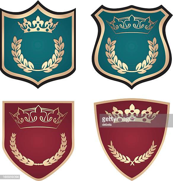 crown shields with laurel wreaths - queen royal person stock illustrations, clip art, cartoons, & icons