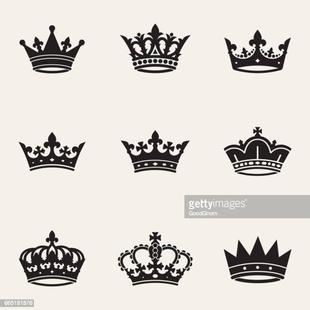 ilustrações de stock, clip art, desenhos animados e ícones de crown sollection - realeza