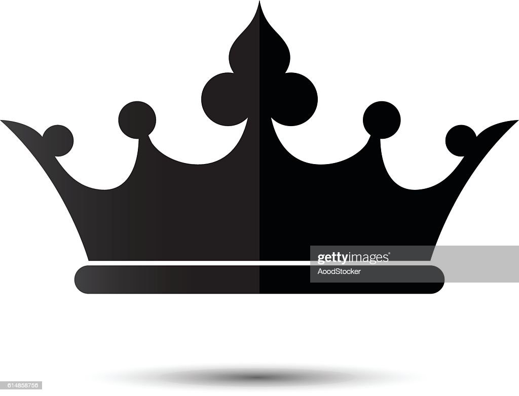 Crown Symbol With Black Color Isolate On White Background Vector Art