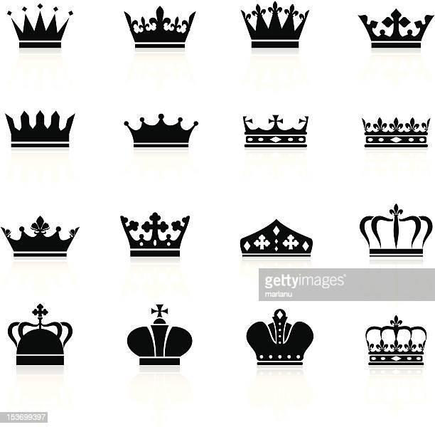 crown symbols - black series - crown stock illustrations