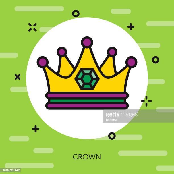 bildbanksillustrationer, clip art samt tecknat material och ikoner med crown tunn linje mardi gras ikonen - gras