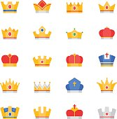 Crown vector color icons set