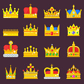 Crown vector set golden royal jewelry symbol of king queen princess crowning prince authority crown jeweles isolated illustration