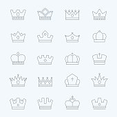 Crown vector thin outline stroke icons set
