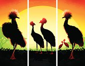 Crowned Cranes silhouettes safari set