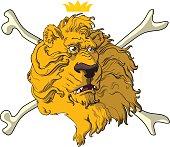 Crowned lion head crossbones