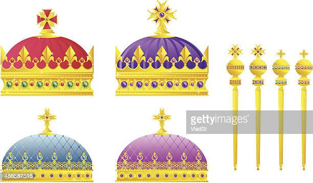 crowns and scepters - scepter stock illustrations