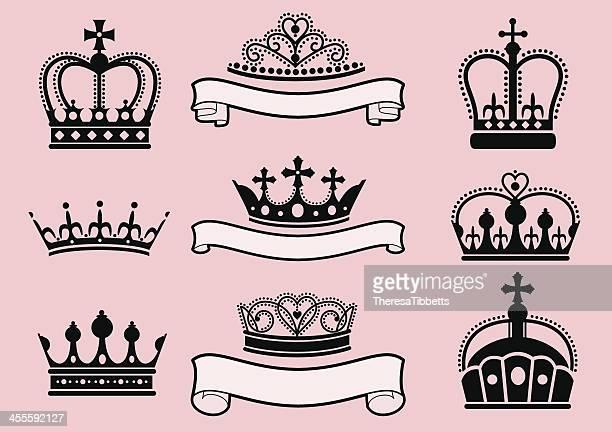 crowns and tiaras - tiara stock illustrations, clip art, cartoons, & icons