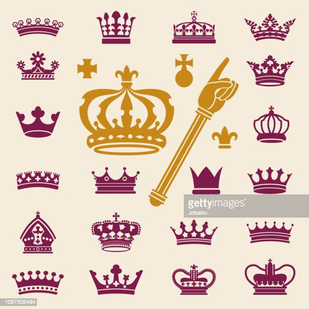 crowns clip art collection - medieval queen crown stock illustrations