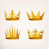 Crowns for king or queen, 3d royal headdress