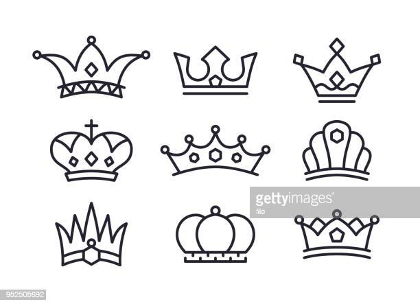 crowns icons and symbols - medieval queen crown stock illustrations