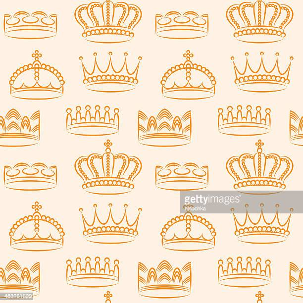 crowns pattern - queen royal person stock illustrations