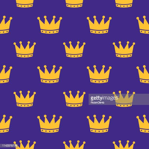 crowns seamless pattern - medieval queen crown stock illustrations