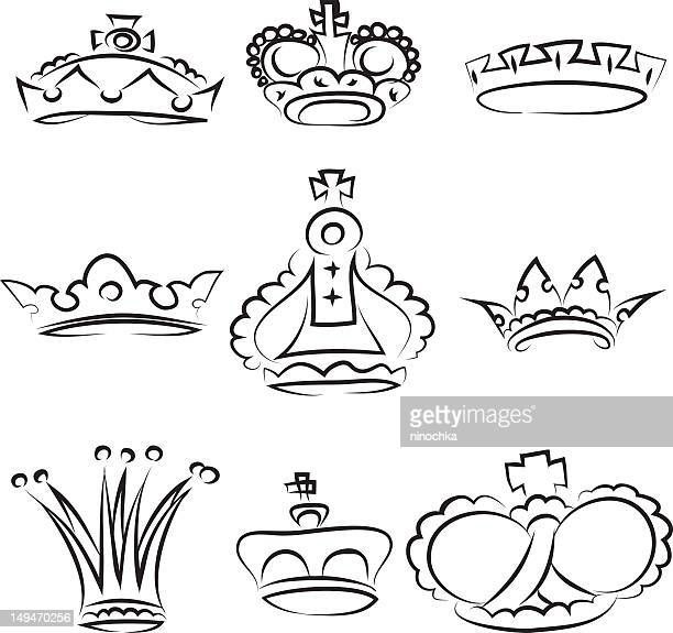 crowns - queen royal person stock illustrations, clip art, cartoons, & icons