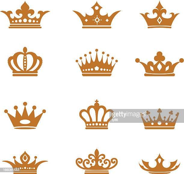 ilustrações, clipart, desenhos animados e ícones de coroas - artigo de vestuário para cabeça