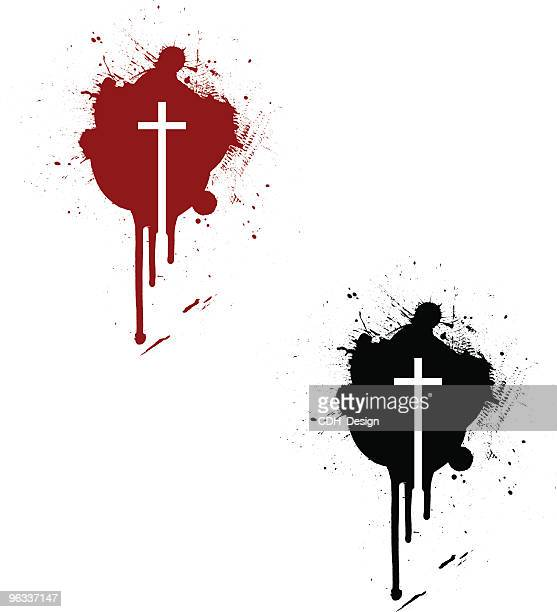 crucifix stain ~ vector - human blood stock illustrations, clip art, cartoons, & icons
