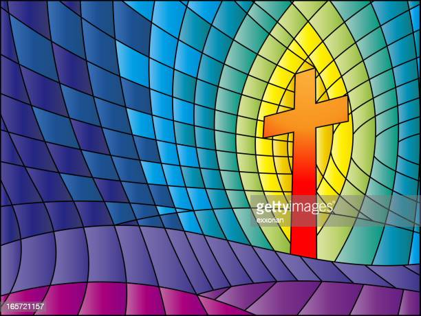 crucifix stained glass - resurrection religion stock illustrations, clip art, cartoons, & icons