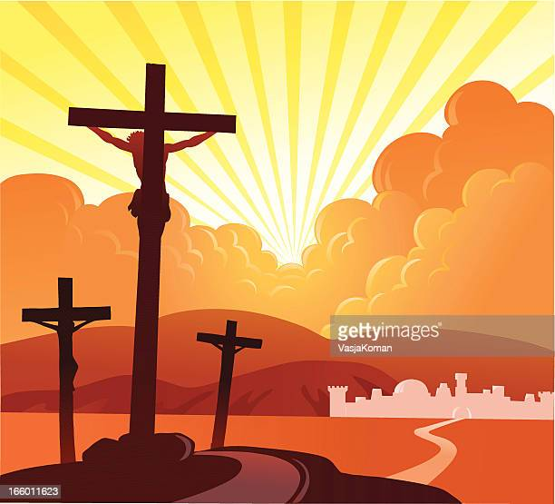crucifixion 2 - holy week stock illustrations, clip art, cartoons, & icons