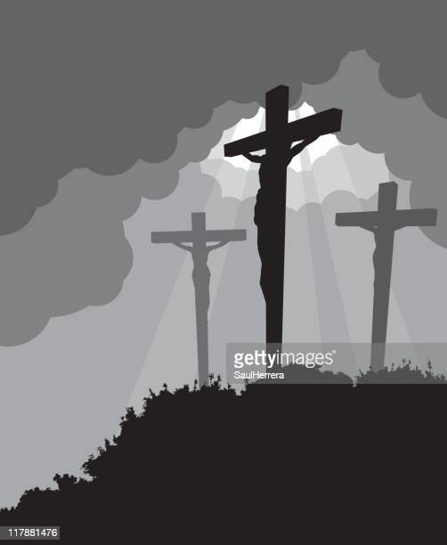 crucifixion - easter - the crucifixion stock illustrations, clip art, cartoons, & icons