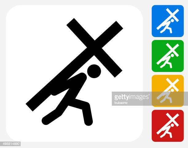 crucifixion icon flat graphic design - stations of the cross stock illustrations