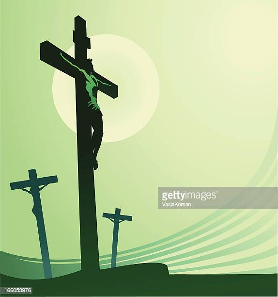 crucifixion in healing green color - cross stock illustrations
