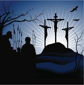 Crucifixion. Silhouettes of the three crosses.