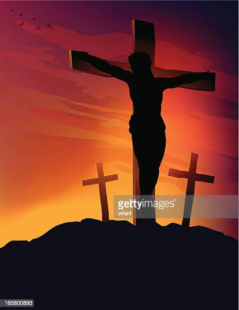 crucifixion - jesus stock illustrations, clip art, cartoons, & icons