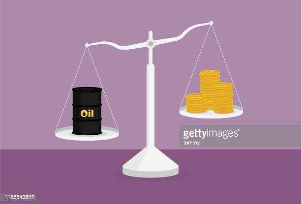 ilustrações, clipart, desenhos animados e ícones de petróleo bruto e uma pilha de moeda na escala - fábrica petroquímica