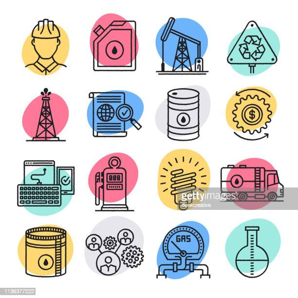 crude oil & natural gas doodle style vector icon set - oil field stock illustrations, clip art, cartoons, & icons