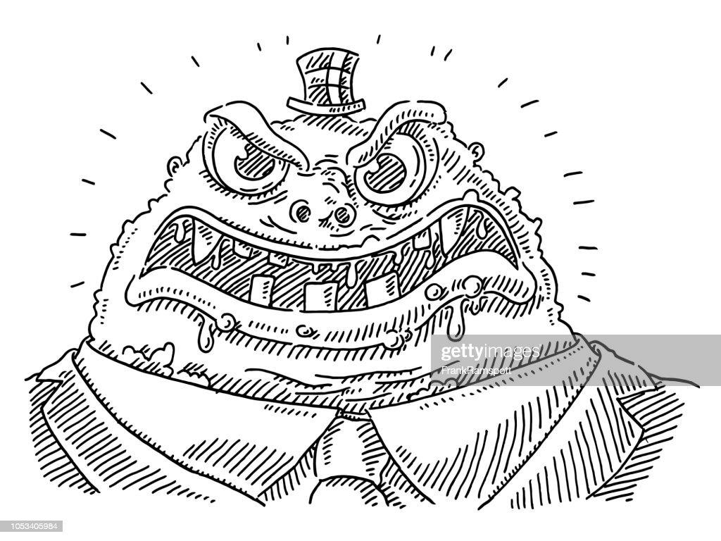 Grausamen Boss Cartoon Monster Zeichnung : Vektorgrafik