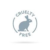 Cruelty free icon design with rabbit silhouette symbol
