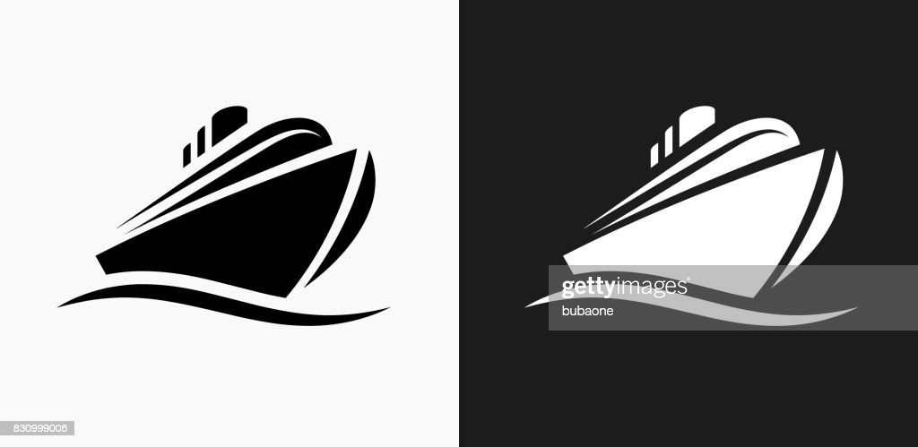 Cruise liner Icon on Black and White Vector Backgrounds