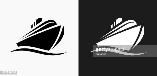 cruise liner icon on black and white vector backgrounds - cruise ship stock illustrations