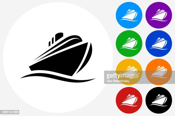 Cruise liner Icon on Flat Color Circle Buttons