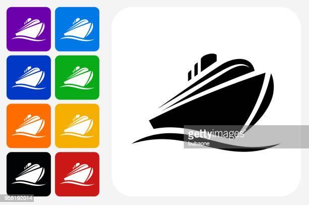 Cruise liner Icon Square Button Set