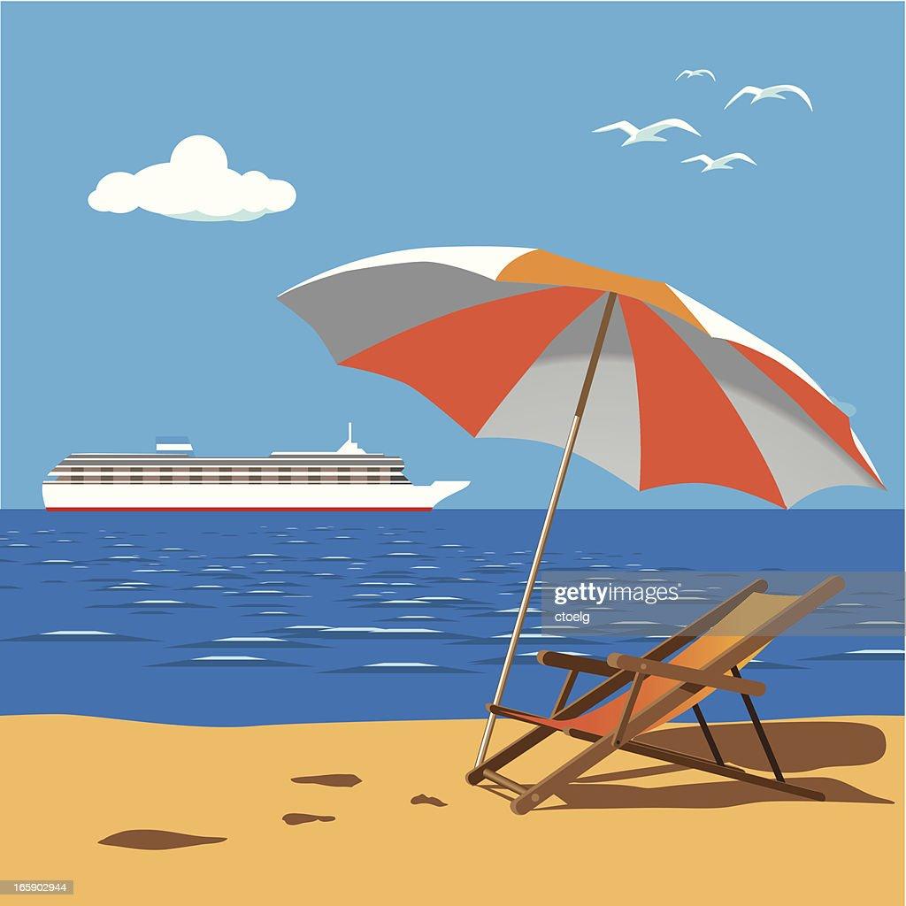 cruise liner near beach : stock illustration