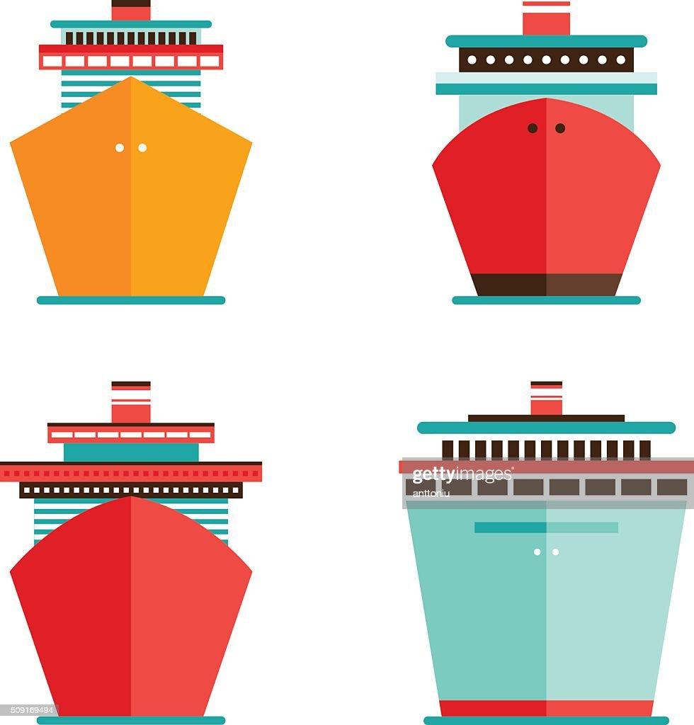 Cruise liner ship icon set Sea Ocean travel vacation concept