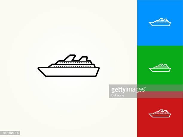 Cruise Ship Black Stroke Linear Icon