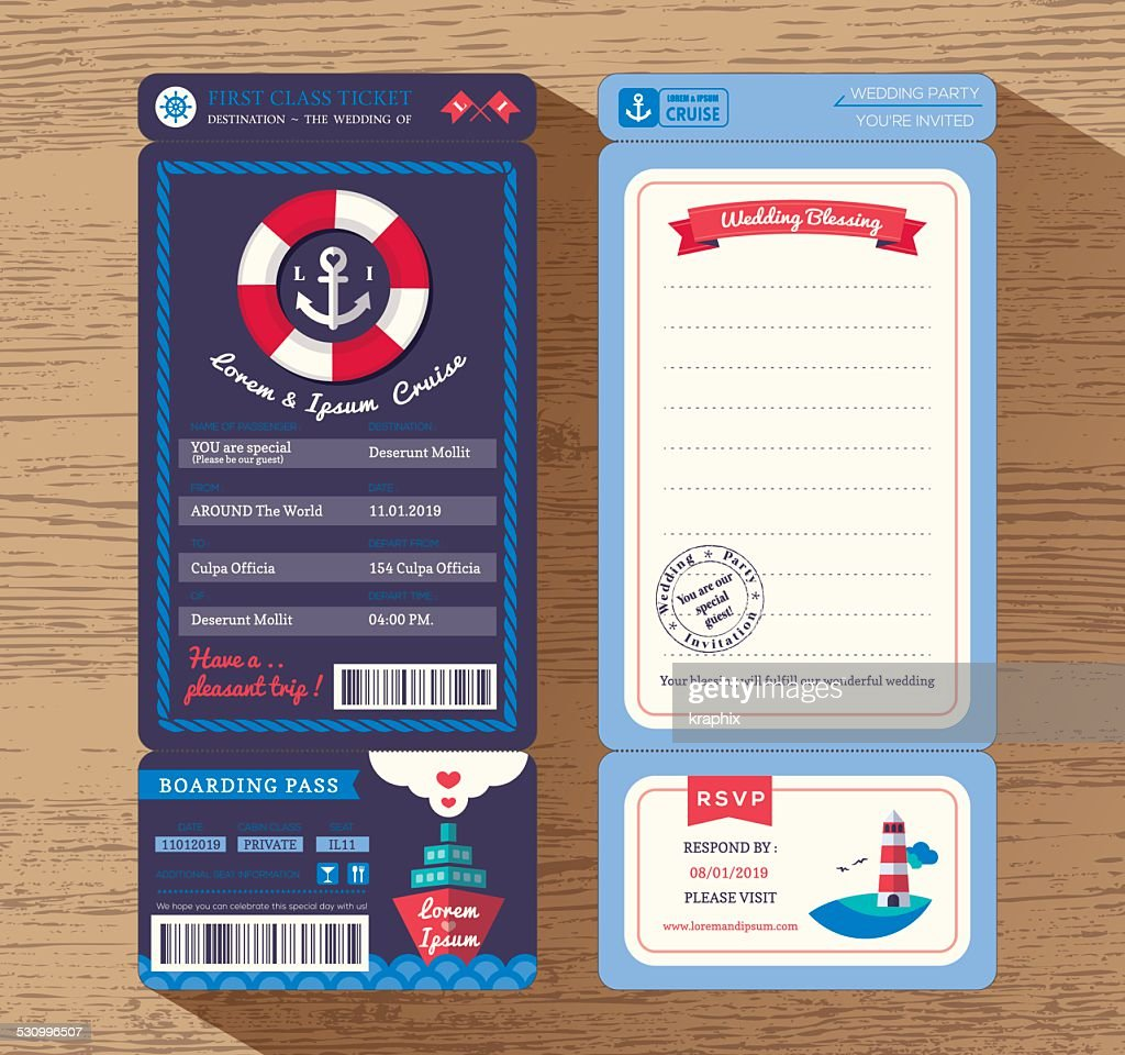 Cruise Ship Boarding Pass Ticket Wedding Invitation Template Vector