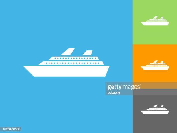 Cruise Ship  Flat Icon on Blue Background