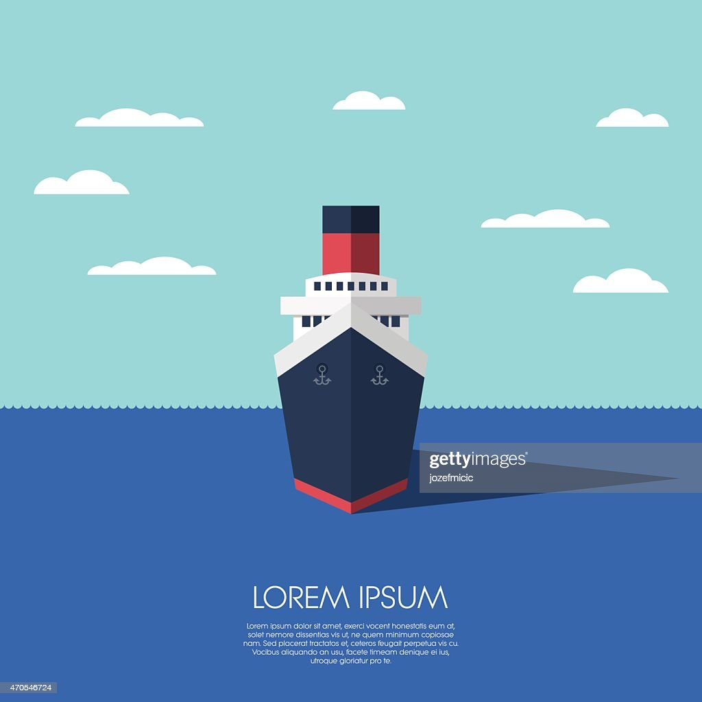 Cruise ship holiday vacation. Modern flat design low polygonal model